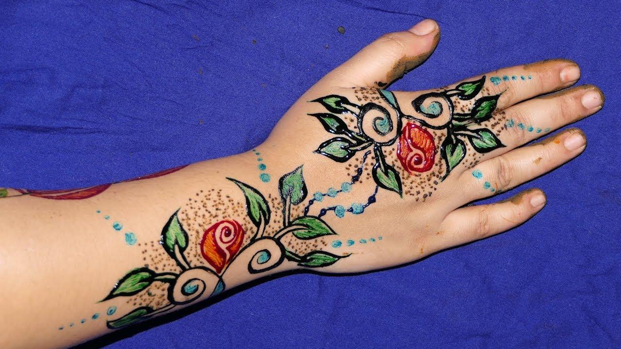 Colored Henna Tattoo: 3 Colours DIY Henna Mehndi Design