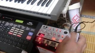 オフで格安で入手したRX7のクリックアウトをvolca bassのシンクインに挿...