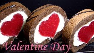 КЛУБНИЧНЫЙ РУЛЕТ Сердце ОЧЕНЬ ВКУСНЫЙ И КРАСИВЫЙ Шоколадный бисквитный  торт  - Strawberry Roll Cake