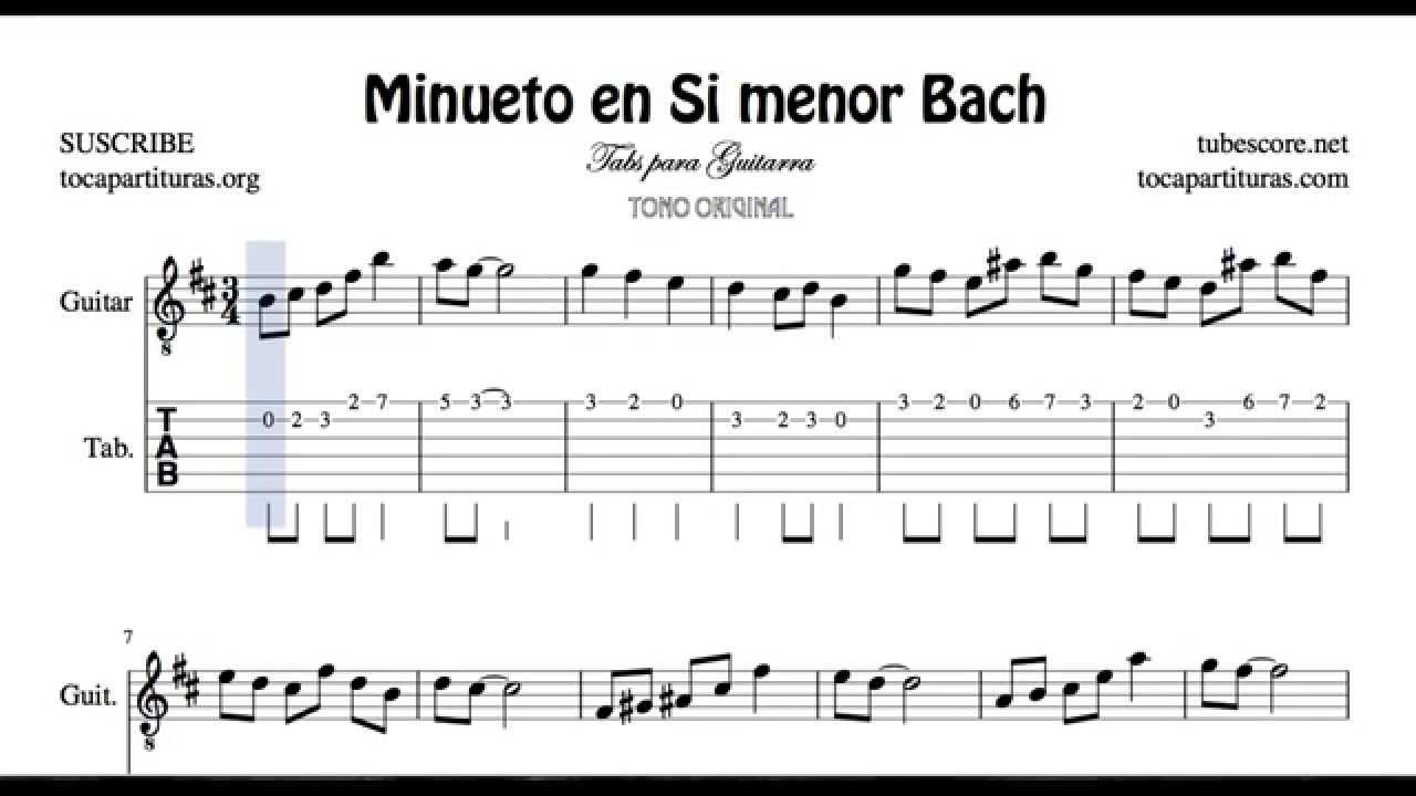 Bach Minuet Nº 2 B Minor Tab Sheet Music for Guitar