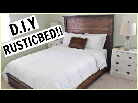 DIY FARMHOUSE STYLE BED FROM SCRATCH!!!!!!