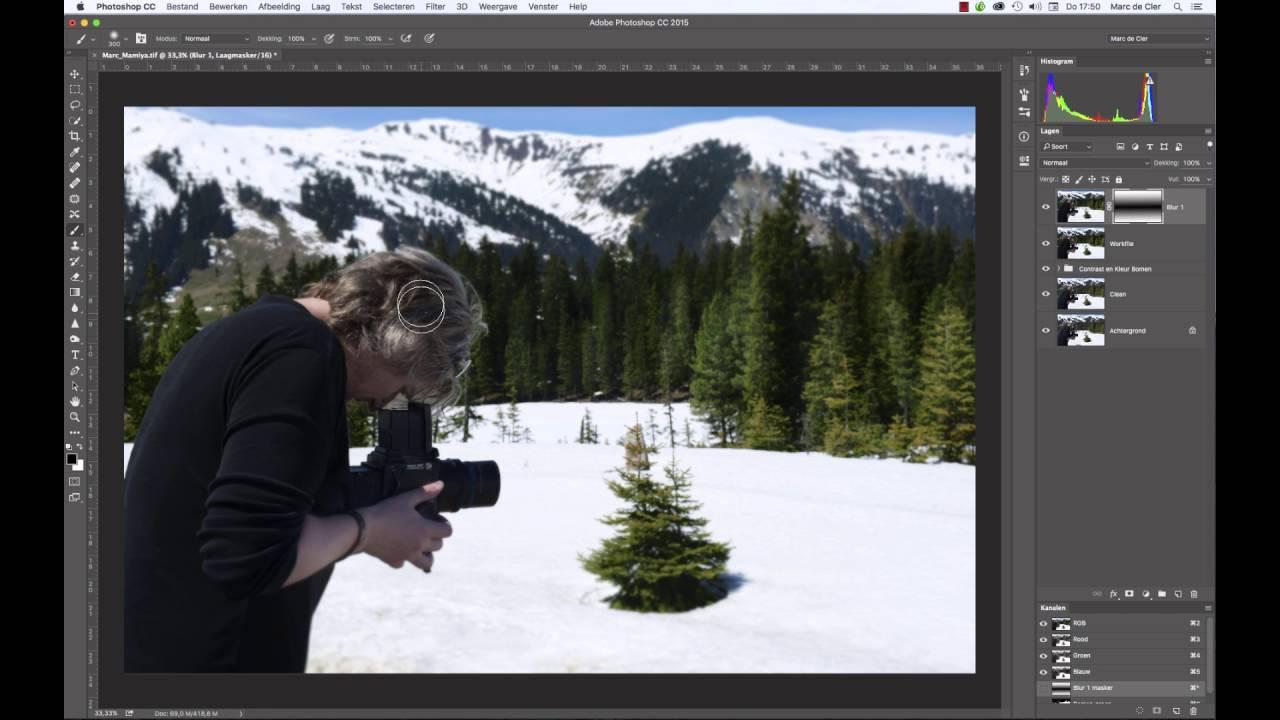 0020 Photoshop Basis Achtergrond Onscherp Maken Youtube