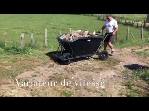 Brouette Electrique Zoette - Mega Jumbo Bac, Transport Bois, Pente 20%