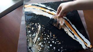 Урок начинающим.Акриловая заливка.Шпатель и мастихин в создании картины AcrylicFluidPouring.