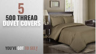 Top 10 500 Thread Duvet Covers [2018]: Royal Hotel Stripe Taupe 3pc Full/Queen Comforter Cover