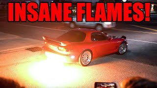 JDM vs. MUSCLE CARS SEND IT LEAVING CAR MEET!! (2 Steps, Flames, Burnouts, Drifts)