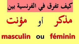 تعليم اللغة الفرنسية كيف تميز بين المدكر و المؤنث masculin ou fminin