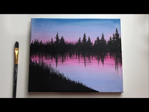 Easy Forest Acrylic Painting For Beginners Acrylic Painting Ideas Youtube