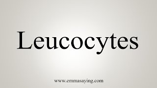 How To Say Leucocytes