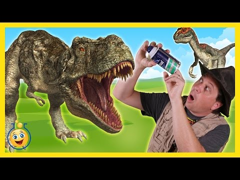 Download Youtube: Life Size Giant T-Rex & Raptor Dinosaurs with Park Ranger Aaron in Surprise Toy Opening Kids Video