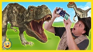Life Size GIANT T-REX & Raptor Dinosaur Chase vs Park Ranger Aaron, Surprise Toy Opening Kids Video