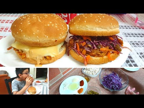 BURGER WEEK - Day 1 - BBQ Pulled Chicken Burgers - Burger Recipe in Urdu hindi