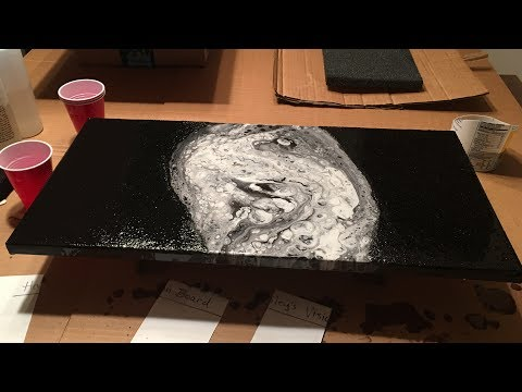 The Black Pearl Resin Pour on Canvas by Carl Mazur