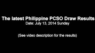 JULY 13, 2014 PHILIPPINE PCSO LOTTO DRAW RESULTS