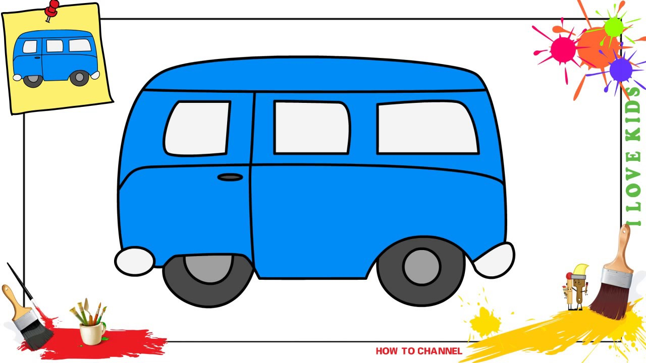 How To Draw A Bus 3 Easy Slowly Step By Step For Kids Beginners