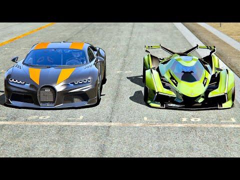 Lamborghini V12 Vision Gran Turismo vs Bugatti Chiron 300+ at Old Monza
