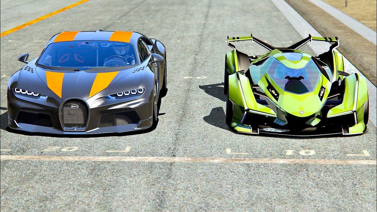 Lamborghini V12 Vision Gran Turismo Vs Bugatti Chiron 300 At Old Monza Youtube