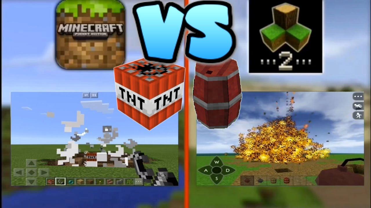 Minecraft Pocket Edition VS SurvivalCraft 2: TNT WHICH IS