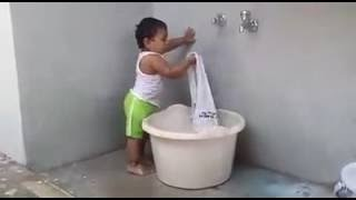New Baby Funny Videos 2016 | Indian Baby Washing Clothes | Whatsapp Video Latest
