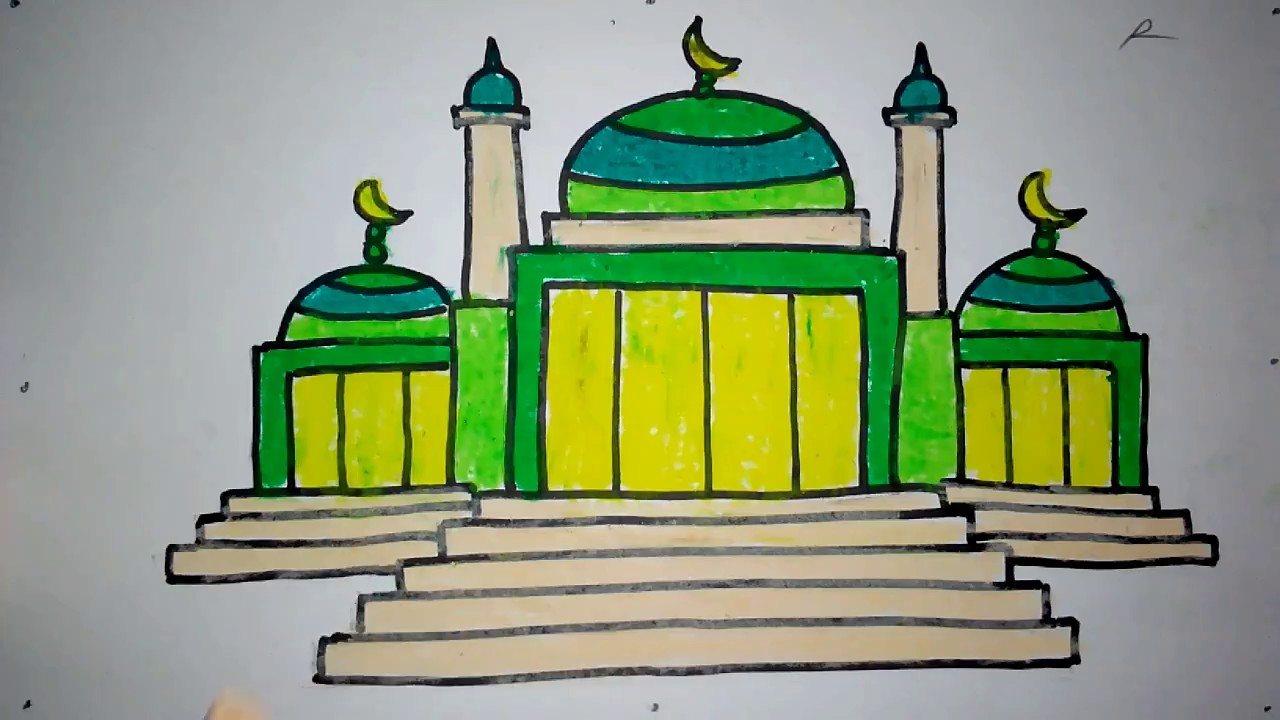 Cara Mewarnai Gambar Masjid Untuk Anak Tk - Nusagates
