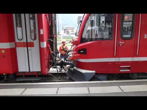 Trains in Italy: Bernina Railway - Coupling up at Tirano