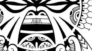 How to create a Polynesian inspired Tiki tattoo, from pencil sketch to full flash design