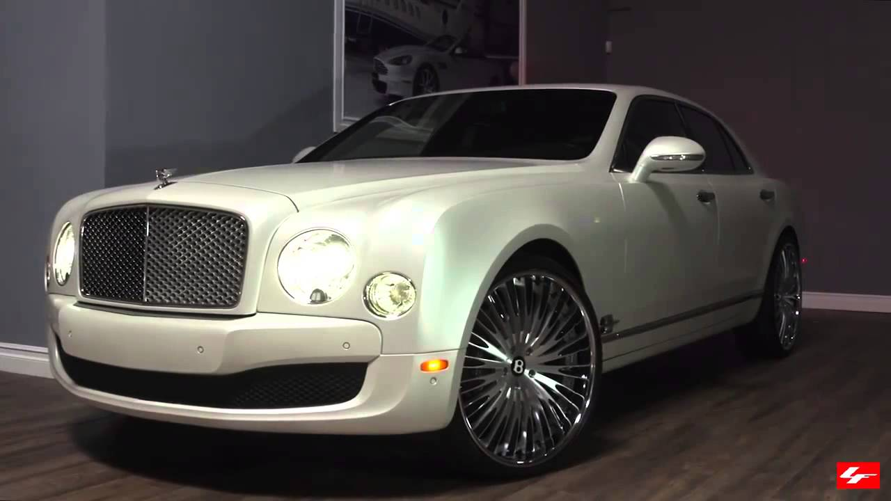 Matte White Bentley Mulsanne on 24 inch Lexani Forged ...