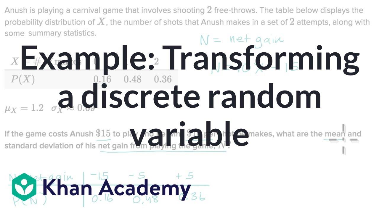 Example: Transforming a discrete random variable (video