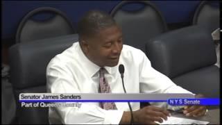 Senator James Sanders speaks about issues concerning people making minimum wage
