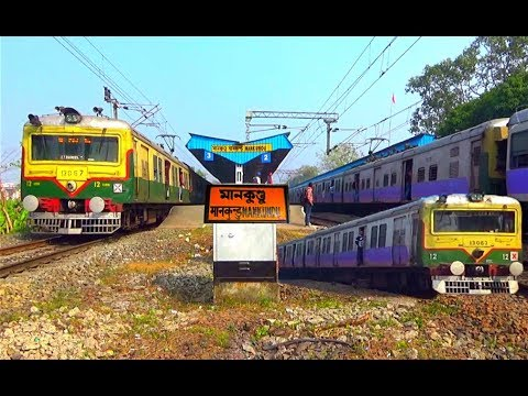 UP & DOWN Howrah - Bardhaman Main Line Local Crossing Katwa - HWH Local At-Mankundu Railway Station
