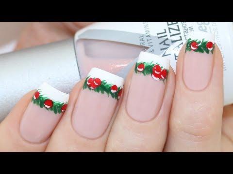 Christmas Garland French Tips Nail Art Tutorial thumbnail