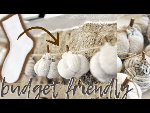 DIY pumpkin garland *FROM SOCKS* farmhouse budget decor