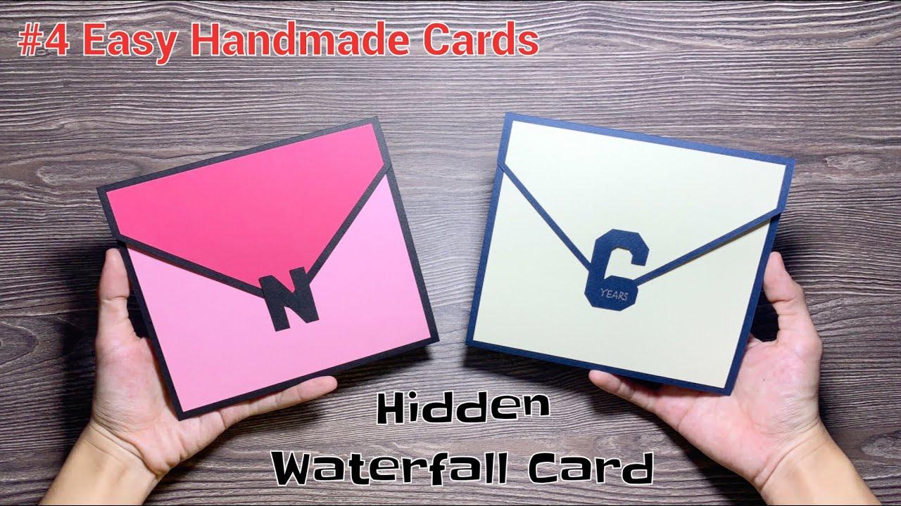 4 easy handmade cards  thiệp sóng nước ẩn hidden