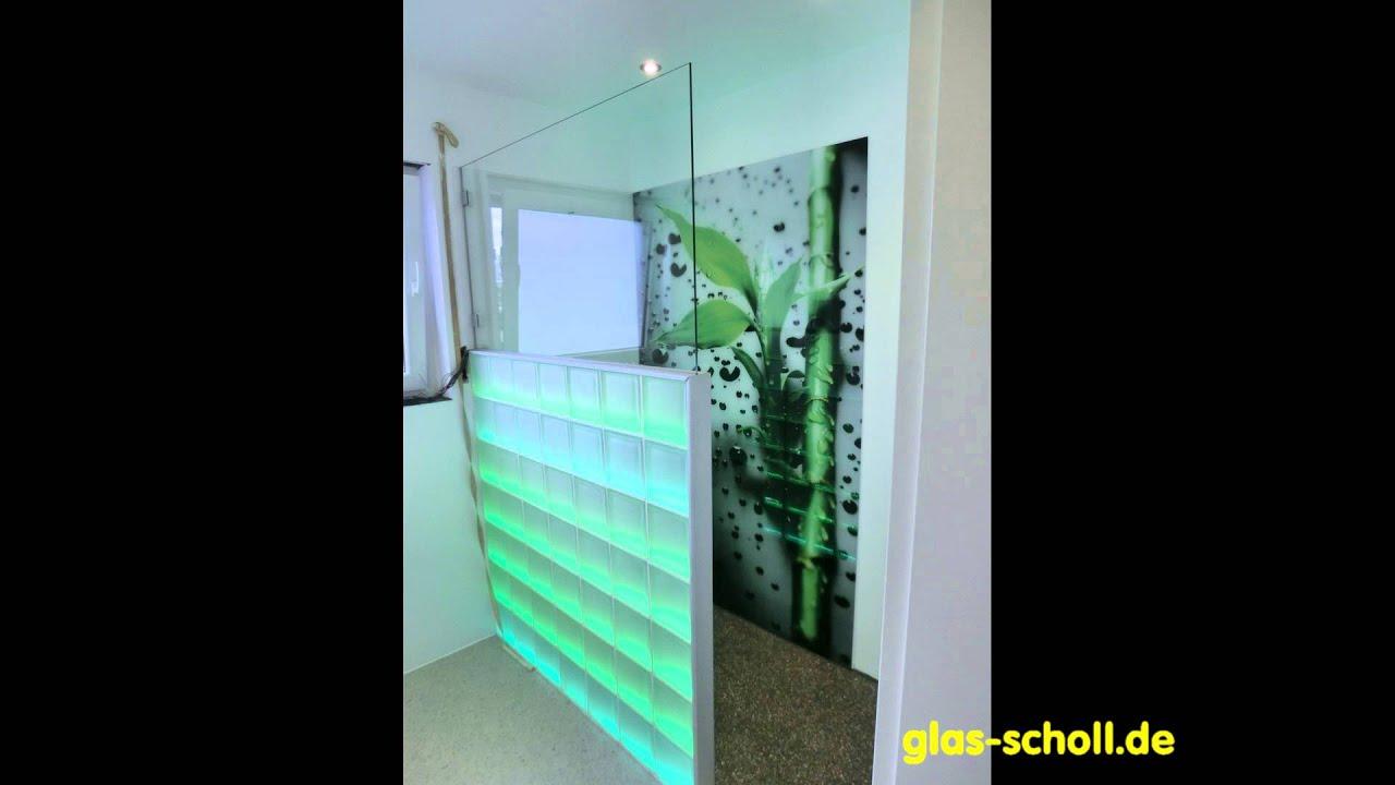 Glasbausteine dusche led  Ganzglasdusche mit Digitaldruck-Wandverglasung LED ...