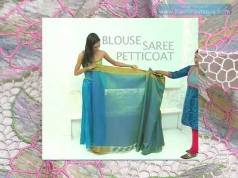 How to drape an Indian saree ...www.SakhiFashions.com Travel Video
