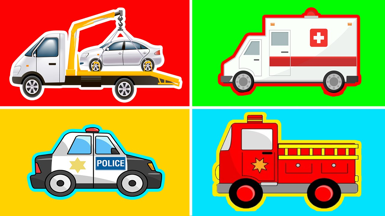 Learn Street Vehicles - Police Car Ambulance Fire truck Tow Truck ...
