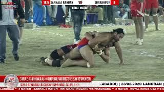 Final Match - Sarhala Ranuan V/s Surakhpur at Sarhala Ranuan (SBS NAGAR) Kabaddi Cup 2020