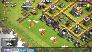 Clash of clans attacked by Archer, giant, and wall breaker