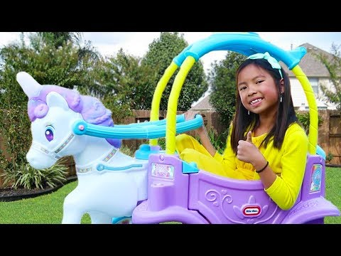 Wendy Pretend Play with Unicorn Princess Carriage Ride-On Toy