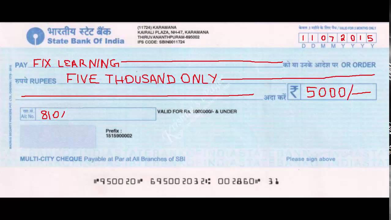 How Will You Write A Cheque Correctly Banking Basics In Tamil