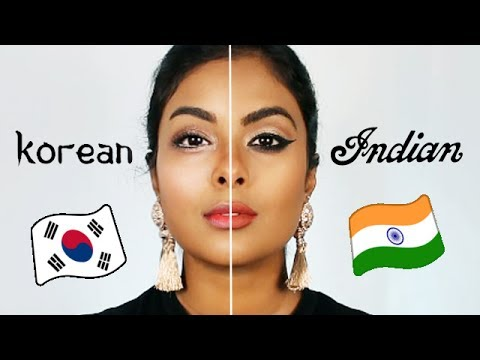 Indian Makeup Vs. Korean Makeup - YouTube