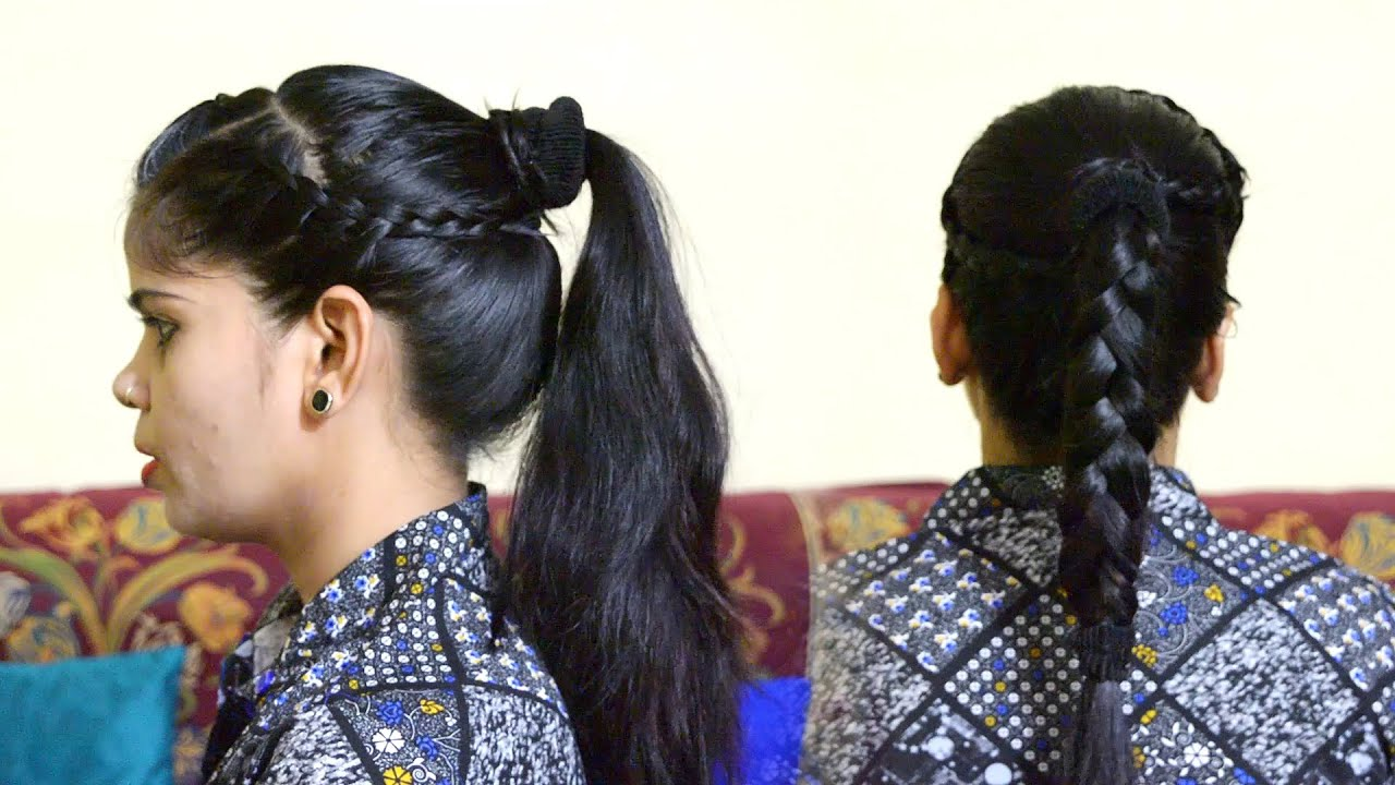 Two Types of Pony Tail on Oiled Hair YouTube