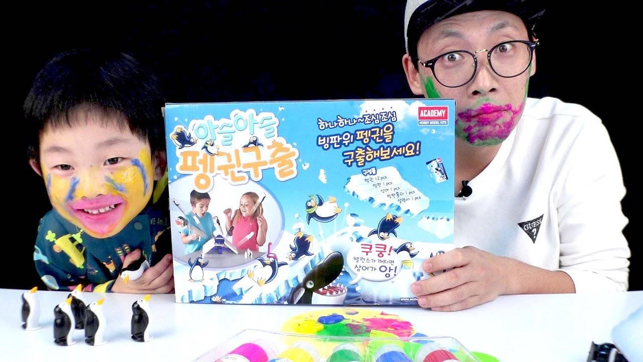 [With Kids]SAVE the PENGUINS GAME Night Board Game Challenge Penalty Face Graffiti Fun Kids Toy Play