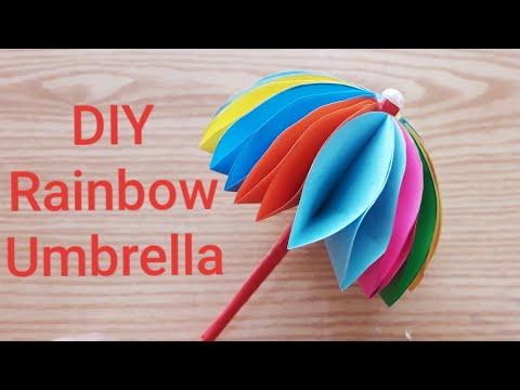 How to make cute paper umbrella   Handmade paper umbrella   Origami umbrella making