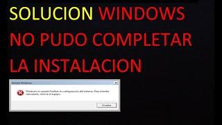 windows no puede finalizar la instalación 2020