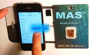 Automatic Plug-n-Play AT&T iPhone 4S Unlock SIM from MAS Technology ( iOS 7.0.6 - )