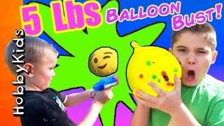 Bursting a 5 POUND BALLOON Whats inside? HobbyKidsTV