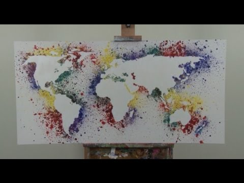 Art lesson how to paint a map of the world youtube for How paint on canvas