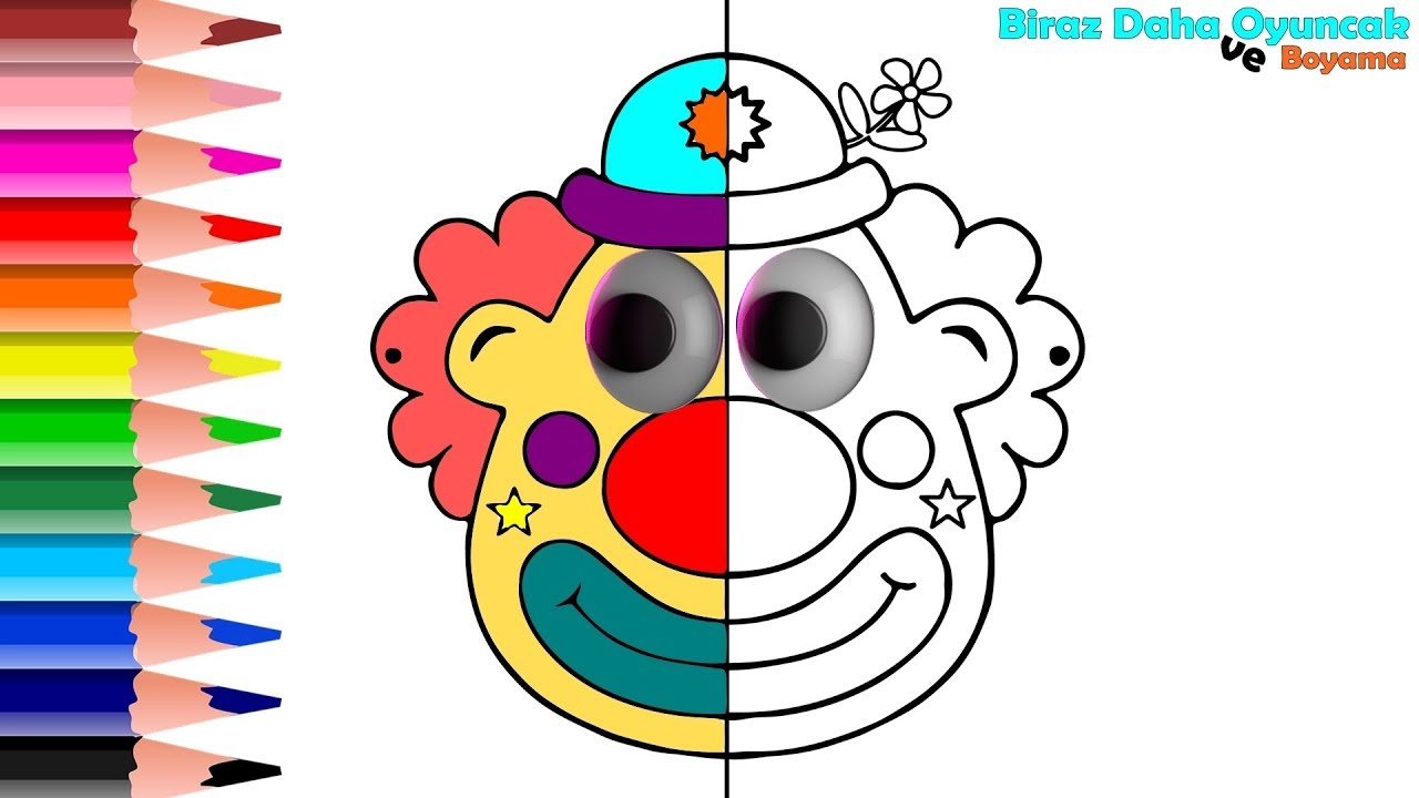 Clown Coloring Page For Kids Learn Colors