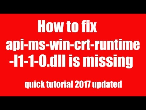 How To Fix Api-ms-win-crt-runtime-l1-1-0.dll Is Missing  ( Quick Tutorial Method-1)  2017 Updated
